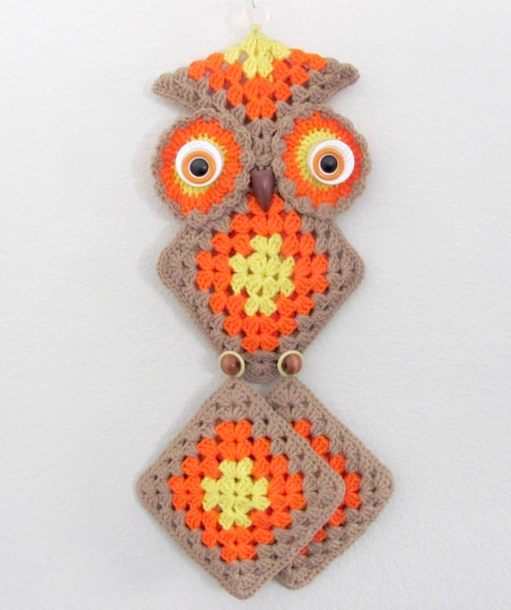 Crochet Wall Hanging : Vintage 1970s Crochet Owl Wall Hanging, Kitchen Owl, Pot Holders ...