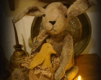 Primitive Folk Art Bunny Rabbit and Baby Chick