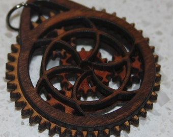 Target Wooden Gear Pendant with working gears and brass ball chain