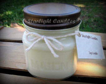 8oz Mason Jar Soy Candle Pick Your Scent & Color