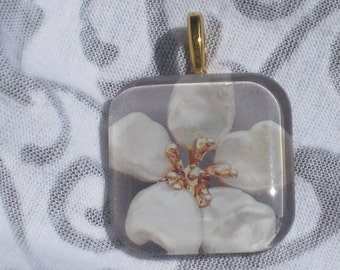 Pearl Flower - glass pendant and chain