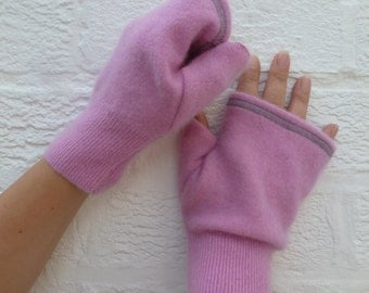 Mittens pink gloves cashmere mitts ladies fingerless mittens womans pink mitts handmade fingerless gloves ladies eco mittens winter gloves.