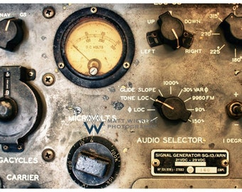 Aviation Photography, Vintage Aviation Navigation Radio, Metallic Photographic Print
