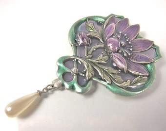 Large Vintage Catherine Popesco Lavender And Green Enamel Floral Brooch/Pin-Made In France