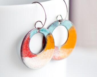 Artsy Enamel Earrings, Fun Earrings, Handmade Copper Enamel Earrings, Summer Colors, Boho Earrings, Funky Earrings, Boho Chic Jewelry