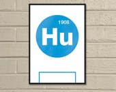 "Essential Elements: ""Huddersfield"" A4 Football Print in blue and white."