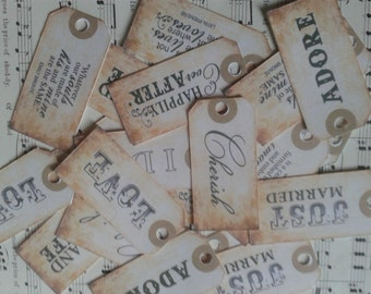 Set of 20 mini mixed vintage wish tree, favours,placename tags