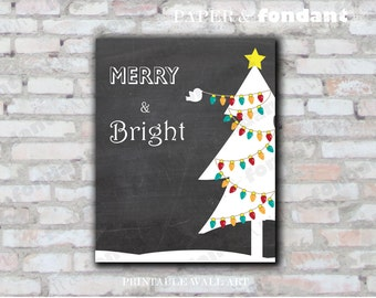 INSTANT DOWNLOAD - PRINTABLE Holiday Poster - 8x10 Holiday tree with lights - Merry & Bright