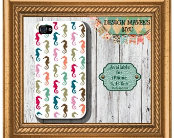 Preppy Seahorse iPhone Case, Nautical iPhone Case, Beach iPhone Case, iPhone 4, 4s, iPhone 5, 5s, 5c, iPhone 6, 6s, 6 Plus, SE