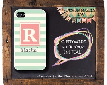 Rugby Stripe Phone Case, Personalized iPhone Case, Monogrammed iPhone, Fits iPhone 4, iPhone 4s, iPhone 5, iPhone 5s, Phone Cover