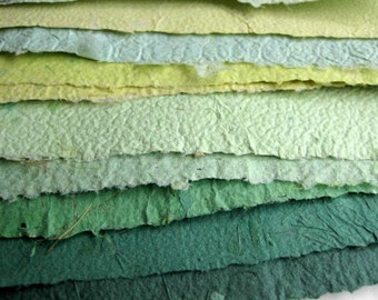 Recycled 10 Beautiful Sheets of Handmade Paper Green 2