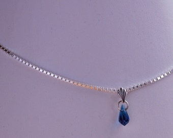 Blue crystal tear drop pendant