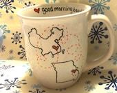 Valentines Day - I MISS YOU Coffee Mug-  2 States on 1 Mug + Good Morning Beautiful or Handsome on rim