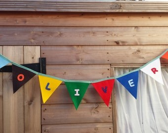 Personalized Bunting /Banner with any name -felt- Handmade