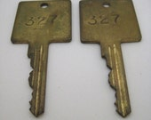 Large Old Vintage Brass Keys Steampunk Supply Two Brass Keys