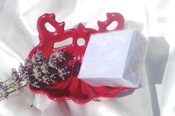 French Enamel Soap Dish Red Vintage French Cast Iron Enamel