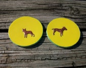here are two handmade cork coasters doggon' sweet..