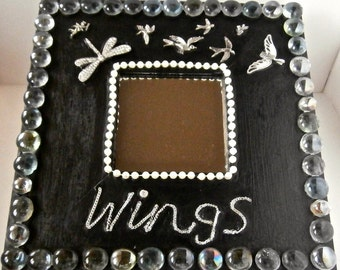 Decorative Wall Mirror - WINGS - Mosaic Jewelry - Mosaic Art - Black Mirror