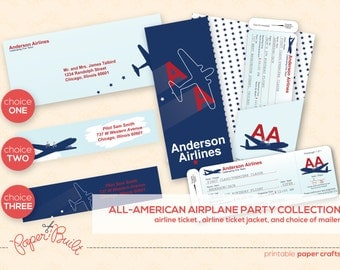 Printable Airplane Party Airline Ticket Invitation Package from the All-American Party Collection by Paper Built