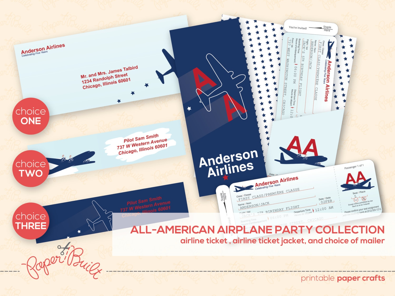printable airplane party airline ticket invitation package. Black Bedroom Furniture Sets. Home Design Ideas