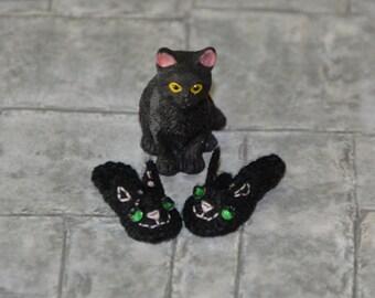 Miniature KIT for 1/12 dollhouse cat slippers, DIY. Cat Slippers Kit