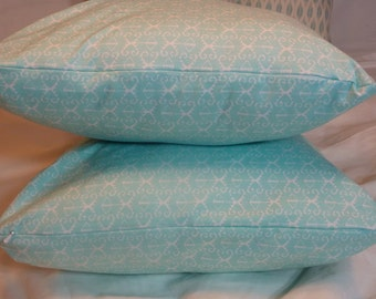 accent pillow covers - Michael Miller Turquoise and White - Designer Fabric on both sides - 18x18 - Decorative Pillow Cover