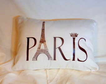 Decorative Paris Pillow Cover  - White Brushed Twill - Paris Pillow - 12x16 - crown - Eiffel Tower - French Country Decor - pillows