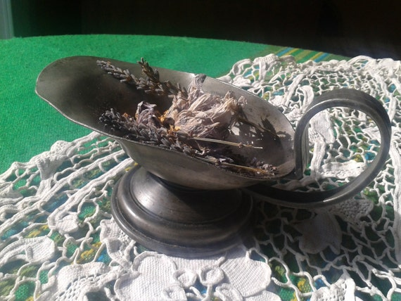 Antique French Pewter Flat Pitcher Aladdin's Lamp Style Dried Flowers Container Floating Candle Holder #sophieladydeparis