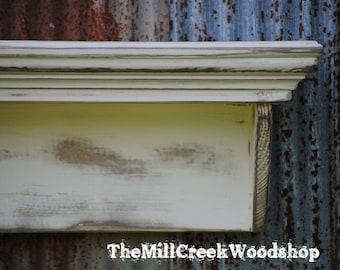"Distressed Wall Shelf 60"" Entryway Organizer Headboard Fireplace Mantel Ledge Headboard Floating Shelves Rustic Home Decor Barn"