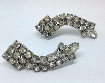 Vintage Rhinestone Earrings - Curve to Earlobe