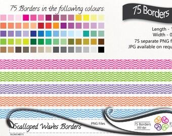 Digital Borders 75 Waves Scalloped Clip art, Waves Borders, Scalloped borders ,instant download, commercial use