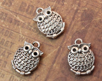10 Owl Charms Owl Pendants Antiqued Silver Tone Double Sided 13 x 15mm