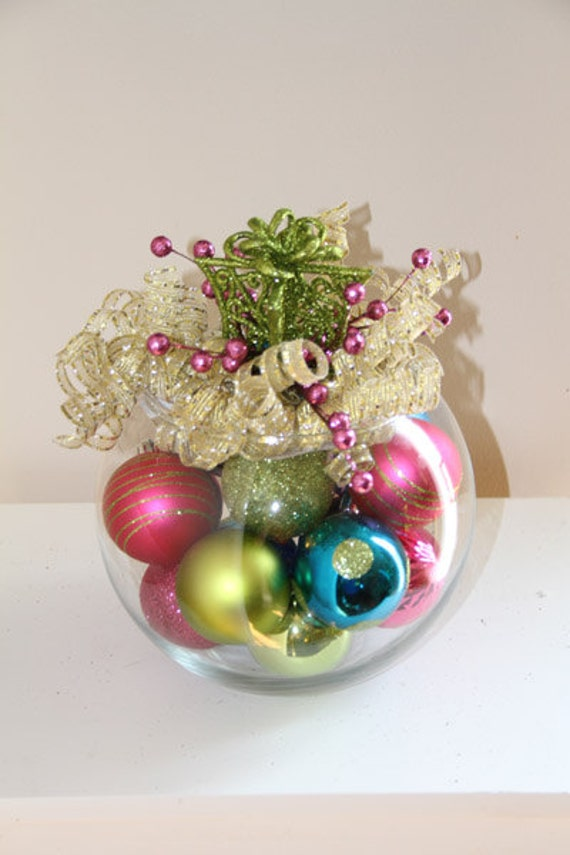 Items similar to unique christmas centerpiece pink