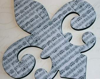 Fleur de lis wall decor , Sheet Music wall decor, French decor, Fleur de lis wall art
