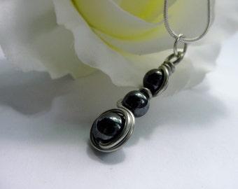 Hematite Pendant, Wire Wrapped, Semi Precious Stones, Chakra Jewelry, Reiki, Gift Idea