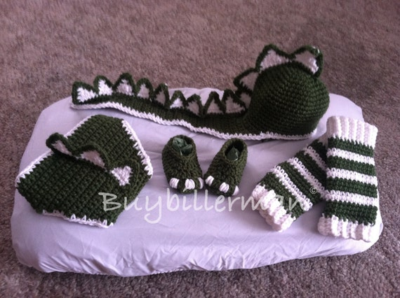 Crochet Dinosaur Hat And Diaper Cover Pattern : Crocheted Dinosaur Hat Diaper Cover Shoe Legwarmers Photo Prop