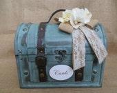 Rustic Aqua Wedding Trunk, Wedding Card Holder, Card Box, Money Holder, Money Box, Wedding Suitcase, Rustic Wedding Box
