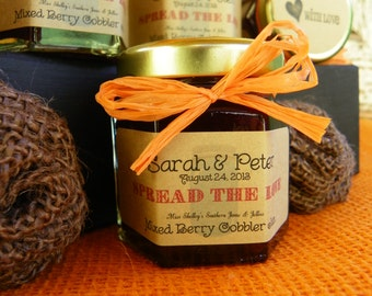 Rustic Jam - Rustic Wedding Favors - Pary Favors - Spread the Love - Personalized Label - Rustic Jam Wedding Favors - Jam Favors