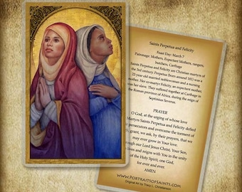 Saints Perpetua and Felicity Holy Card or Wood Magnet #0153