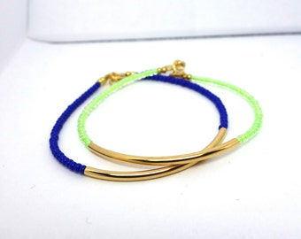 Royal Blue and Neon Green Gold Bar Bracelet - Minimalist Modern Friendship Bracelet - Set of 2