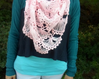 free world wide shipping, candy pink handmade crochet triangle mohair shawl, neckwarmer, cowl , ready to ship