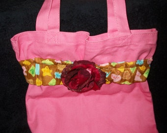Pink tote bag with rose