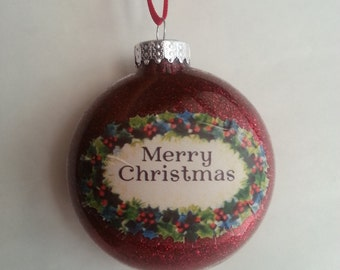 "Glass Red  ""Merry Christmas"" Ornament"