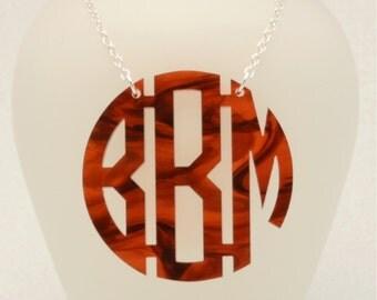 Large 1.75 Inch Custom Tortoise Shell Geometric Monogram Acrylic Necklace, Bridesmaid Necklace, Circle Monogram Gift, Personalized Jewelry