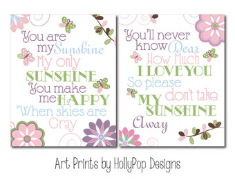 Baby Girl Nursery Wall Decor You are My Sunshine Girls Room wall art Pink Blue Floral decor Flower Butterfly Decor Nursery Duo Print Set