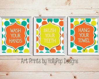 Bright Colorful Bathroom Prints Kids Bathroom Art Decor Bathroom Manners Wash Your Hands Brush Your Teeth Orange Yellow Teal Set of 3 Print