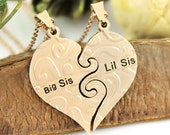 "Sisters Necklace Split Heart Necklace for Big Sis & Lil Sis Infinity Necklace Set (2pcs), Perfect Sister gift 18"" Chains Included"