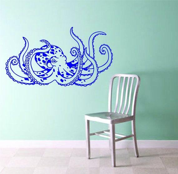 octopus version 106 wall vinyl decal sticker decals nautical. Black Bedroom Furniture Sets. Home Design Ideas