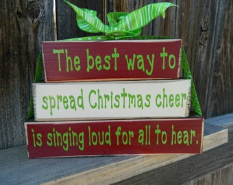 Christmas wood blocks-The best way to spread christmas cheer wood blocks--Buddy the Elf, Christmas wood stacker blocks