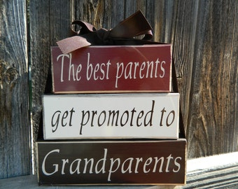 Mothers/Fathers day wood stacker blocks--The best Parents get promoted to Grandparents-Grandparents block set